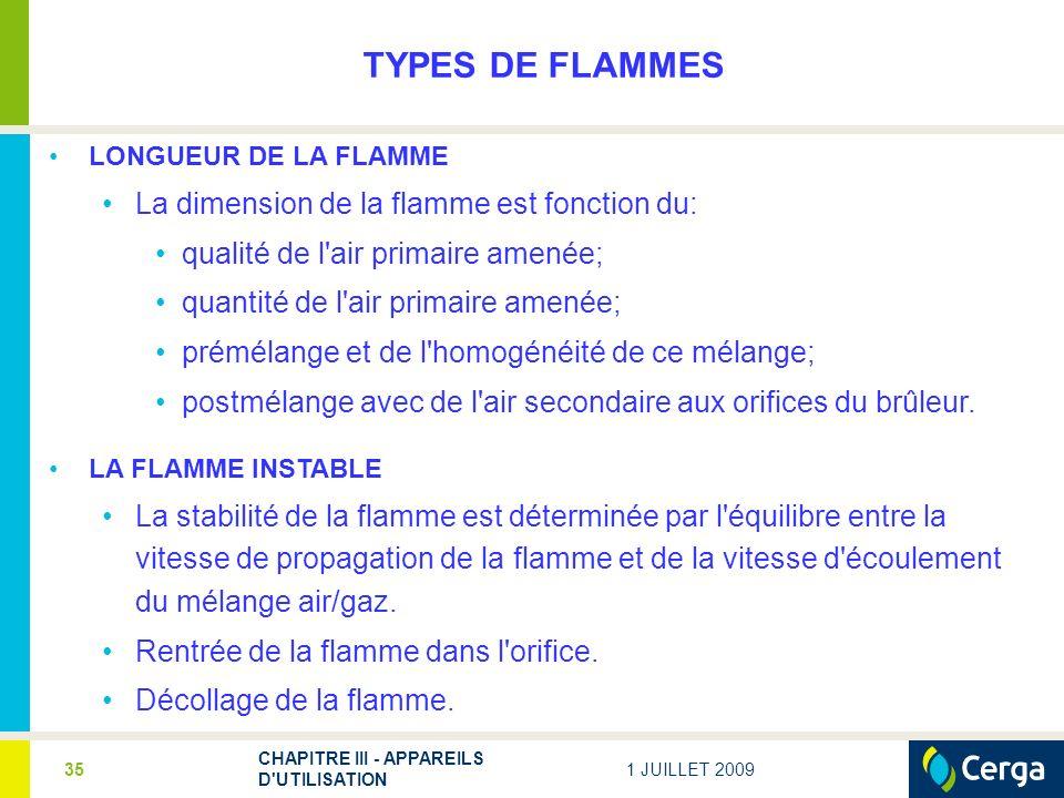 1 JUILLET 2009 CHAPITRE III - APPAREILS D'UTILISATION 35 TYPES DE FLAMMES LONGUEUR DE LA FLAMME La dimension de la flamme est fonction du: qualité de