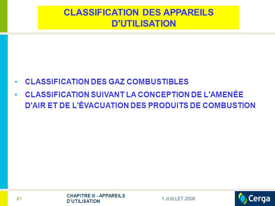 1 JUILLET 2009 CHAPITRE III - APPAREILS D UTILISATION 51 CLASSIFICATION DES APPAREILS D UTILISATION CLASSIFICATION DES GAZ COMBUSTIBLES CLASSIFICATION SUIVANT LA CONCEPTION DE L AMENÉE D AIR ET DE L ÉVACUATION DES PRODUITS DE COMBUSTION