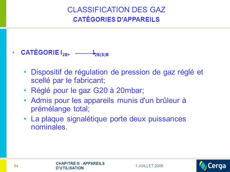 1 JUILLET 2009 CHAPITRE III - APPAREILS D UTILISATION 54 CLASSIFICATION DES GAZ CATÉGORIES D APPAREILS CATÉGORIE I 2E+ I 2E(S)B Dispositif de régulation de pression de gaz réglé et scellé par le fabricant; Réglé pour le gaz G20 à 20mbar; Admis pour les appareils munis d un brûleur à prémélange total; La plaque signalétique porte deux puissances nominales.