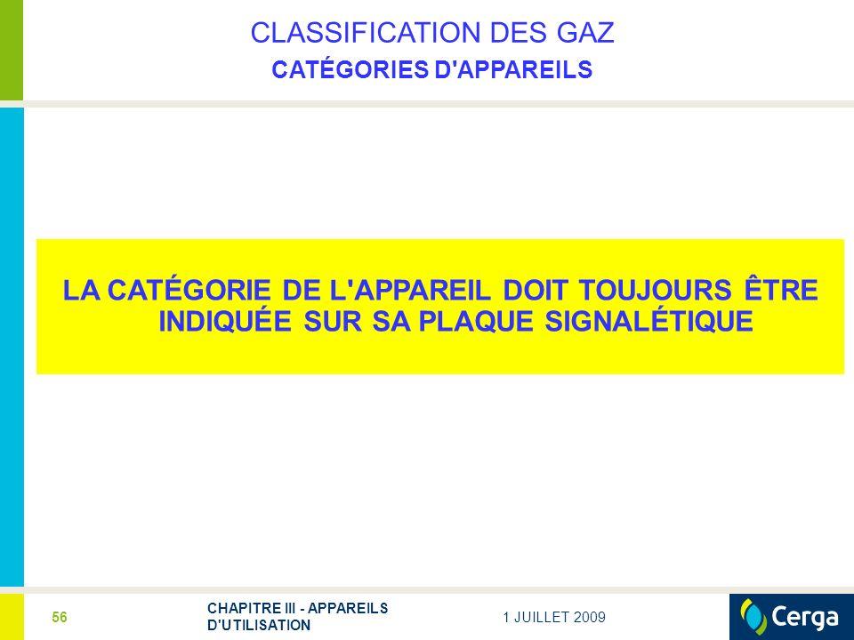 1 JUILLET 2009 CHAPITRE III - APPAREILS D UTILISATION 56 CLASSIFICATION DES GAZ CATÉGORIES D APPAREILS LA CATÉGORIE DE L APPAREIL DOIT TOUJOURS ÊTRE INDIQUÉE SUR SA PLAQUE SIGNALÉTIQUE