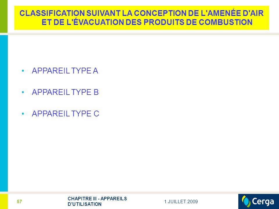 1 JUILLET 2009 CHAPITRE III - APPAREILS D UTILISATION 57 CLASSIFICATION SUIVANT LA CONCEPTION DE L AMENÉE D AIR ET DE L ÉVACUATION DES PRODUITS DE COMBUSTION APPAREIL TYPE A APPAREIL TYPE B APPAREIL TYPE C