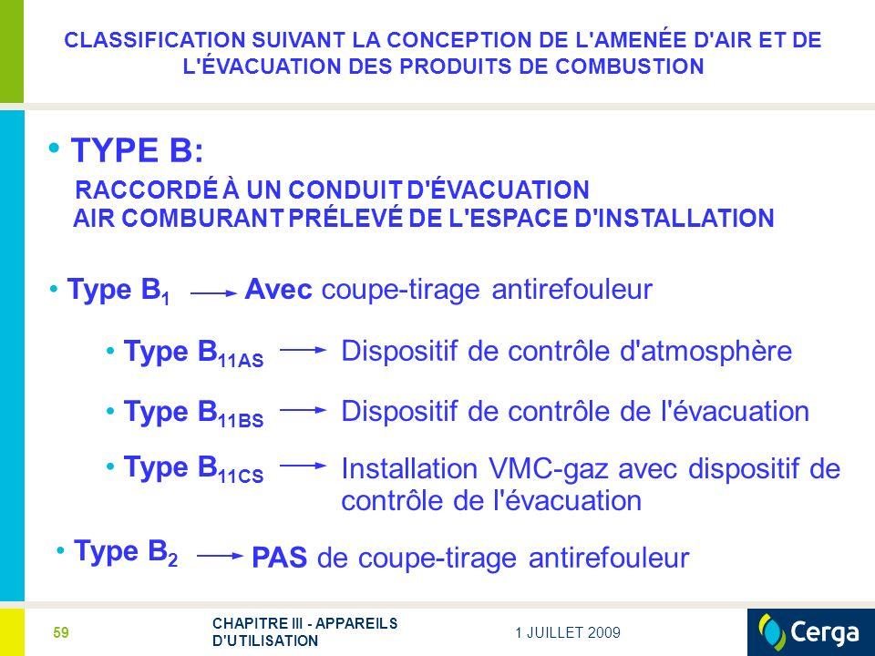 1 JUILLET 2009 CHAPITRE III - APPAREILS D'UTILISATION 59 TYPE B: RACCORDÉ À UN CONDUIT D'ÉVACUATION AIR COMBURANT PRÉLEVÉ DE L'ESPACE D'INSTALLATION T