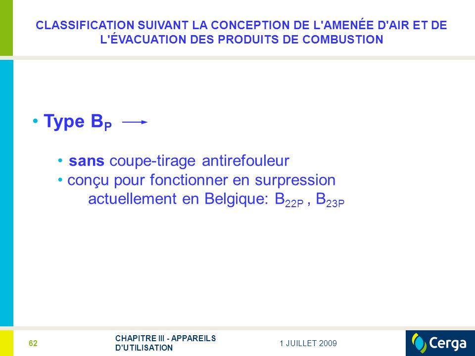 1 JUILLET 2009 CHAPITRE III - APPAREILS D'UTILISATION 62 sans coupe-tirage antirefouleur conçu pour fonctionner en surpression actuellement en Belgiqu