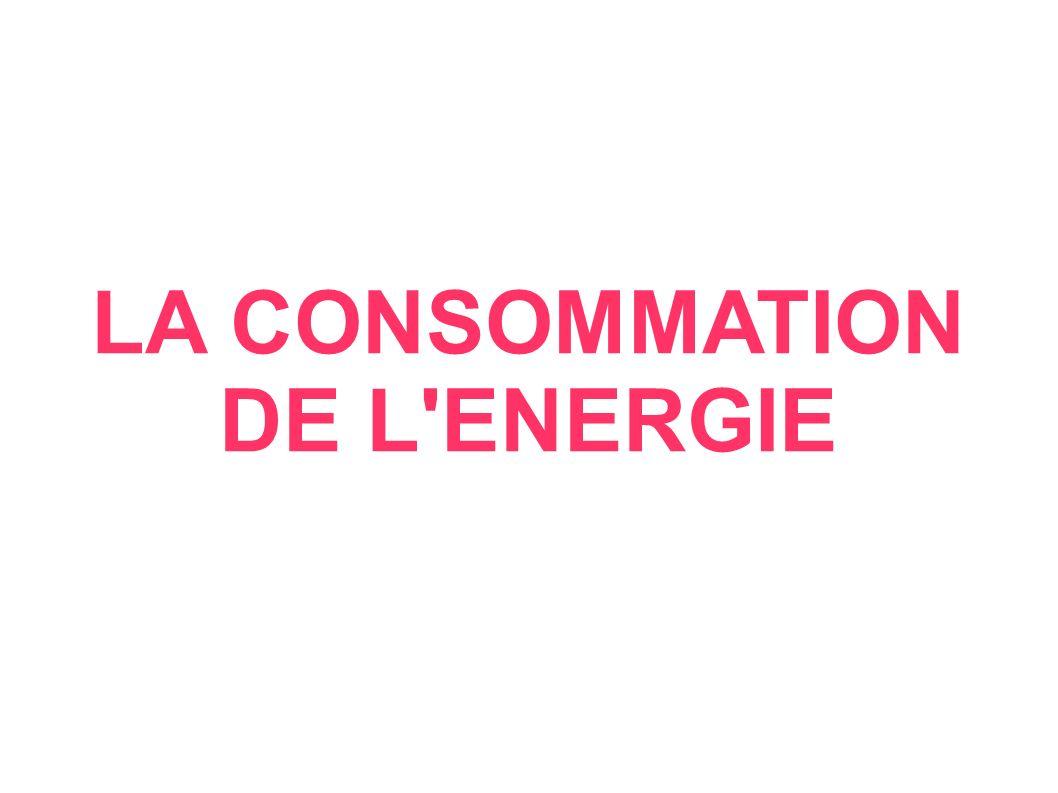 LA CONSOMMATION DE L ENERGIE