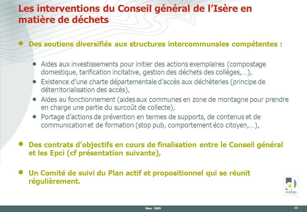 Mars 2009 12 Les interventions du Conseil général de lIsère en matière de déchets Des soutiens diversifiés aux structures intercommunales compétentes