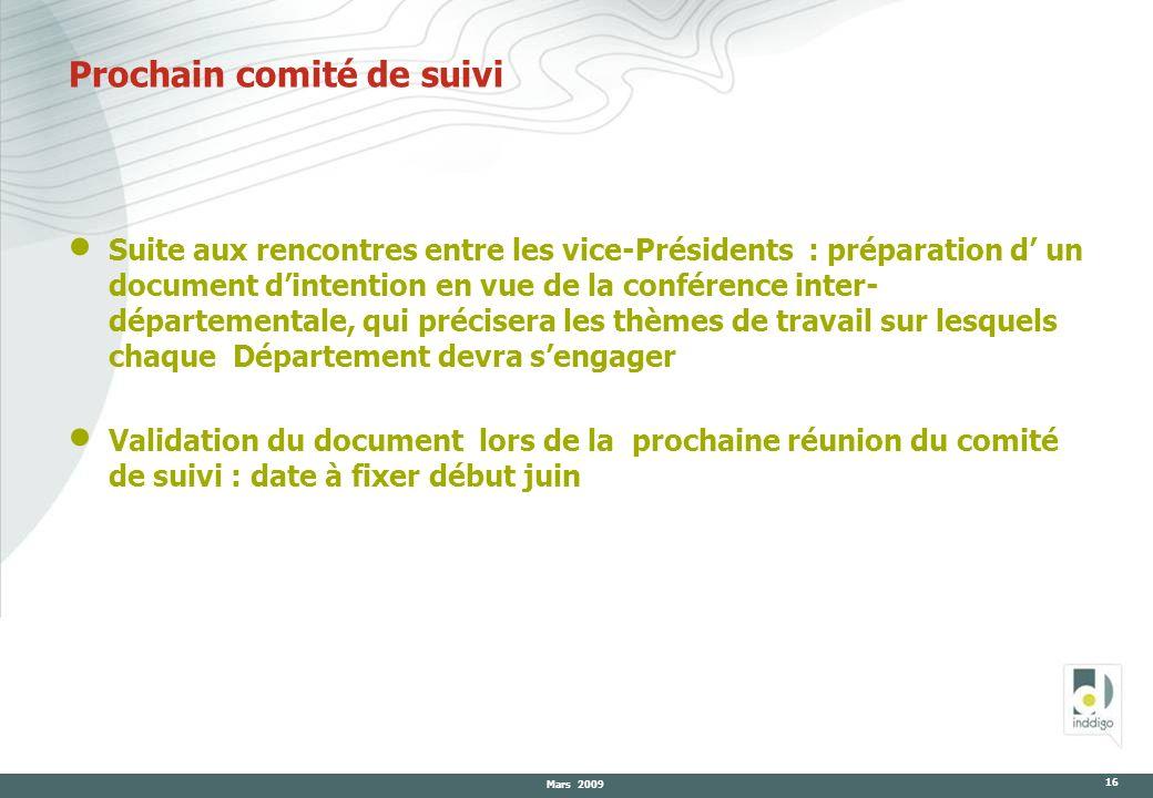 Mars 2009 16 Prochain comité de suivi Suite aux rencontres entre les vice-Présidents : préparation d un document dintention en vue de la conférence in