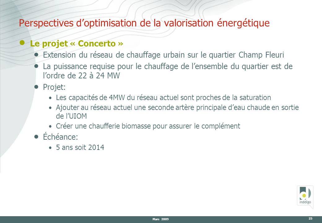 Mars 2009 25 Le projet « Concerto » Extension du réseau de chauffage urbain sur le quartier Champ Fleuri La puissance requise pour le chauffage de len