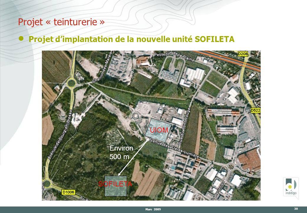 Mars 2009 30 Projet « teinturerie » Projet dimplantation de la nouvelle unité SOFILETA Environ 500 m UIOM SOFILETA