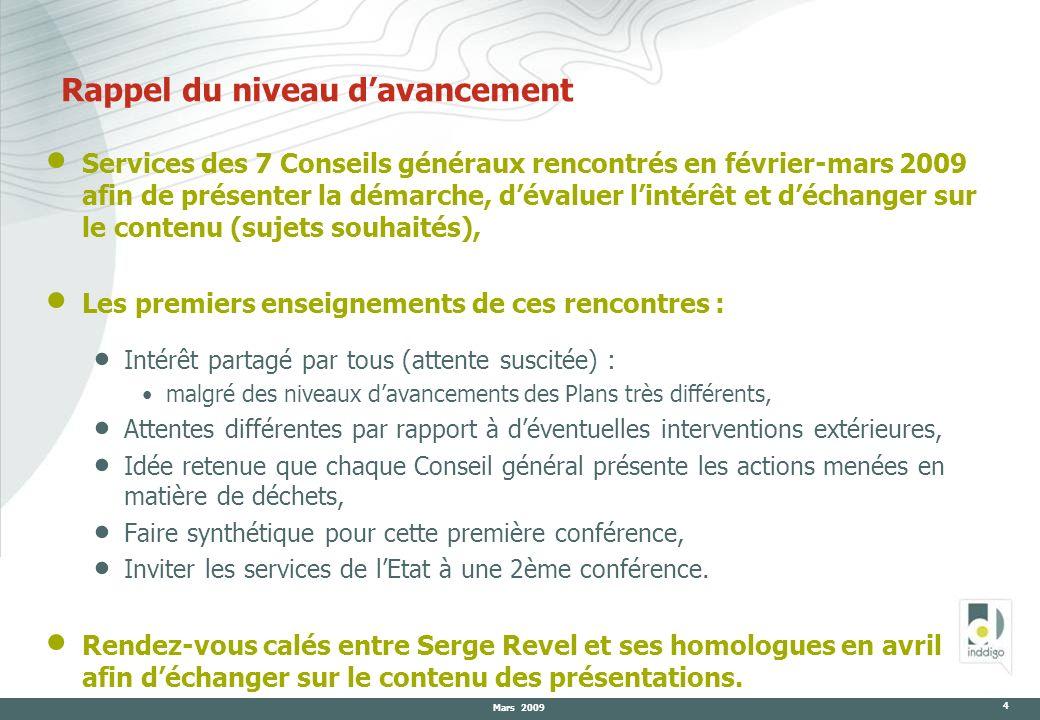 Mars 2009 4 Rappel du niveau davancement Services des 7 Conseils généraux rencontrés en février-mars 2009 afin de présenter la démarche, dévaluer lint