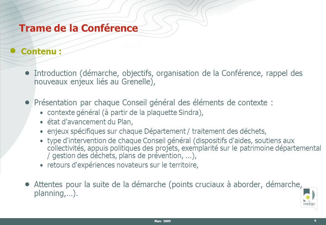 Mars 2009 6 Trame de la Conférence Contenu : Introduction (démarche, objectifs, organisation de la Conférence, rappel des nouveaux enjeux liés au Gren