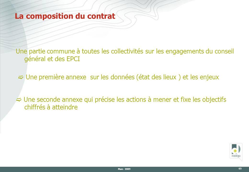 Mars 2009 65 La composition du contrat Une partie commune à toutes les collectivités sur les engagements du conseil général et des EPCI Une première a