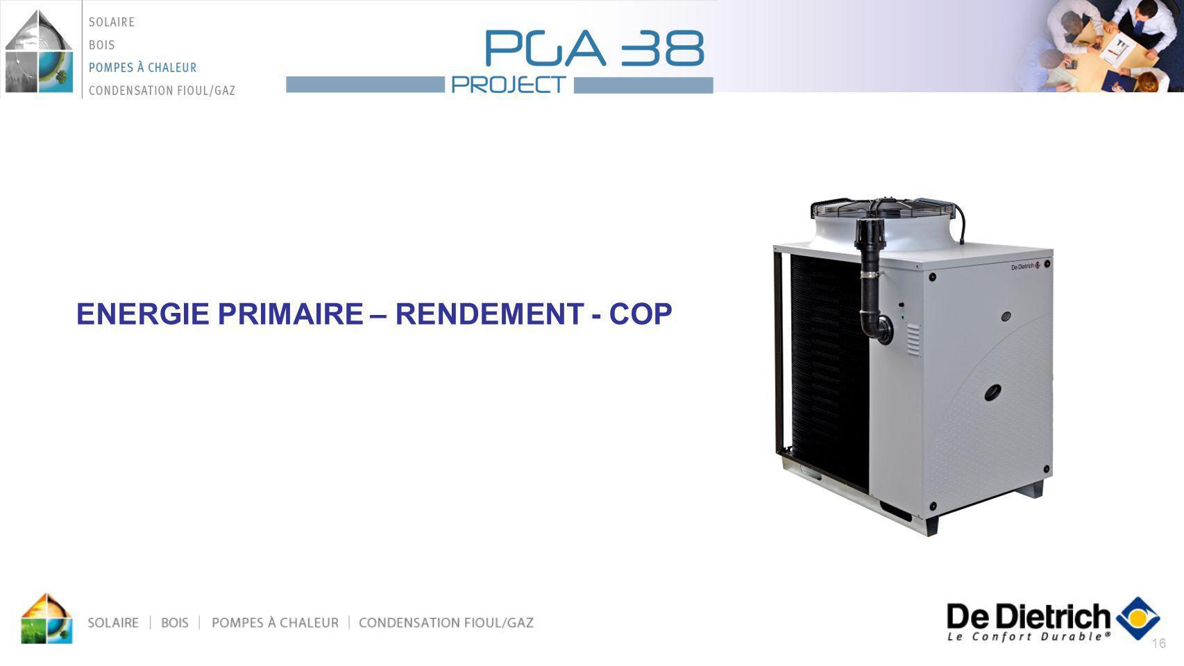 16 ENERGIE PRIMAIRE – RENDEMENT - COP