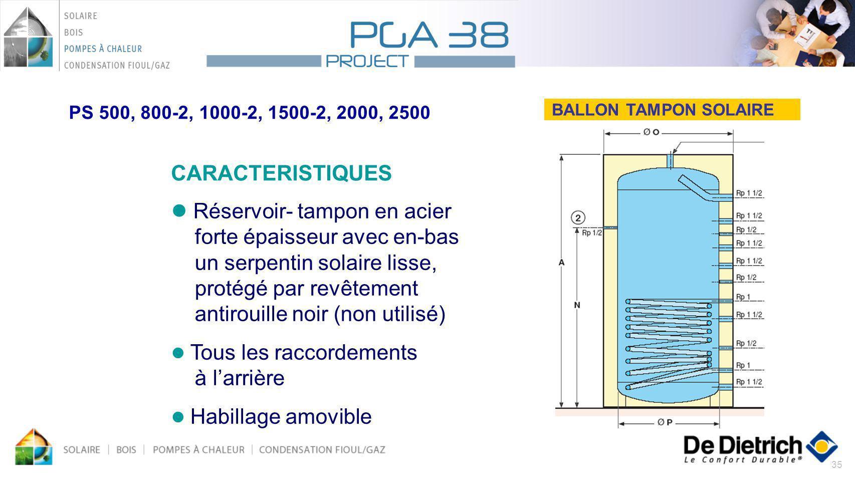 35 BALLON TAMPON SOLAIRE CARACTERISTIQUES Réservoir- tampon en acier forte épaisseur avec en-bas un serpentin solaire lisse, protégé par revêtement an