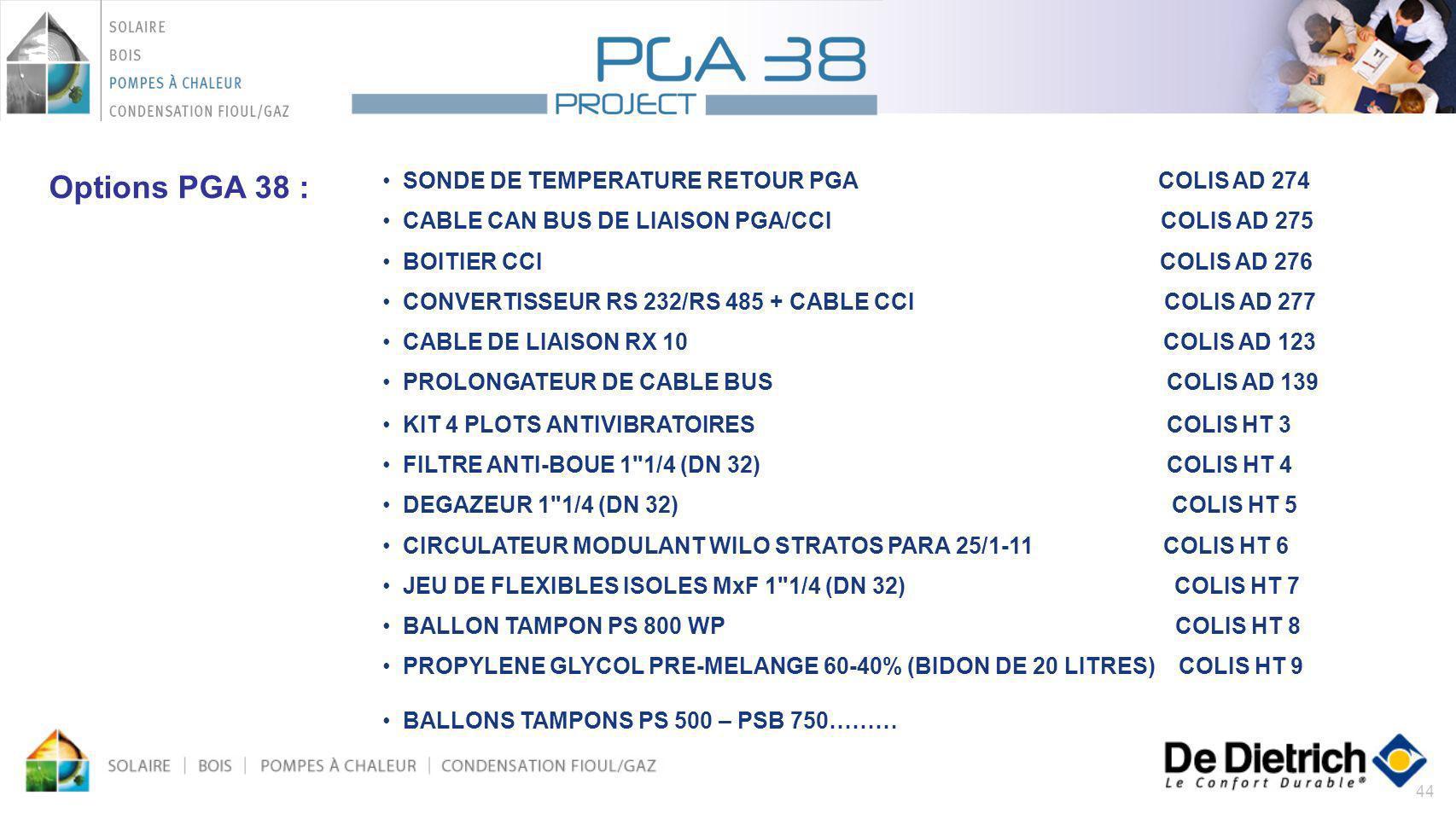 44 Options PGA 38 : SONDE DE TEMPERATURE RETOUR PGA COLIS AD 274 CABLE CAN BUS DE LIAISON PGA/CCI COLIS AD 275 BOITIER CCI COLIS AD 276 CONVERTISSEUR
