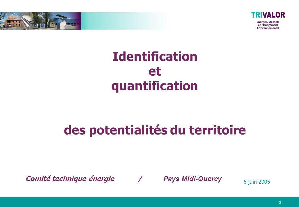 1 Identification et quantification des potentialités du territoire 6 juin 2005 Comité technique énergie / Pays Midi-Quercy