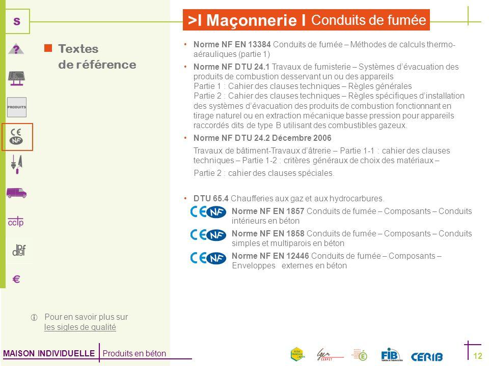 MAISON INDIVIDUELLE Produits en béton >I Maçonnerie I Conduits de fumée 12 Norme NF EN 13384 Conduits de fumée – Méthodes de calculs thermo- aérauliqu