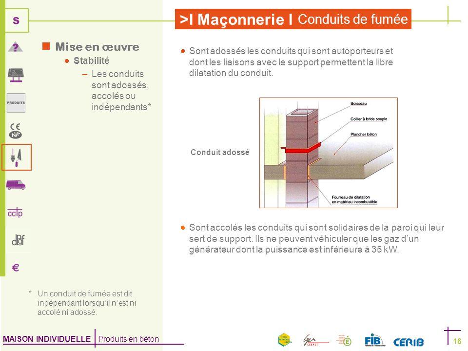 MAISON INDIVIDUELLE Produits en béton >I Maçonnerie I Conduits de fumée 16 Mise en œuvre Stabilité –Les conduits sont adossés, accolés ou indépendants