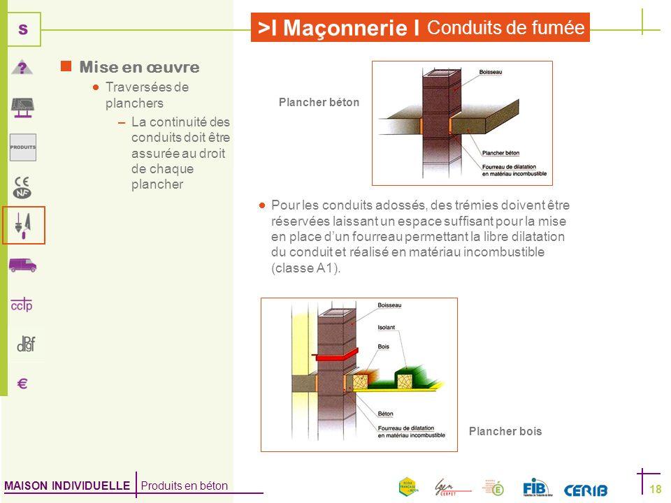 MAISON INDIVIDUELLE Produits en béton >I Maçonnerie I Conduits de fumée 18 Mise en œuvre Traversées de planchers –La continuité des conduits doit être