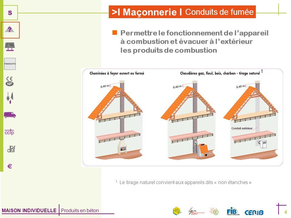 MAISON INDIVIDUELLE Produits en béton >I Maçonnerie I Conduits de fumée 4 Permettre le fonctionnement de lappareil à combustion et évacuer à lextérieu