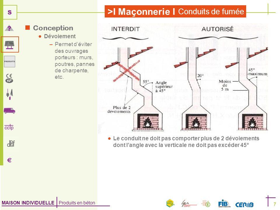 MAISON INDIVIDUELLE Produits en béton >I Maçonnerie I Conduits de fumée 7 Conception Dévoiement –Permet déviter des ouvrages porteurs : murs, poutres,