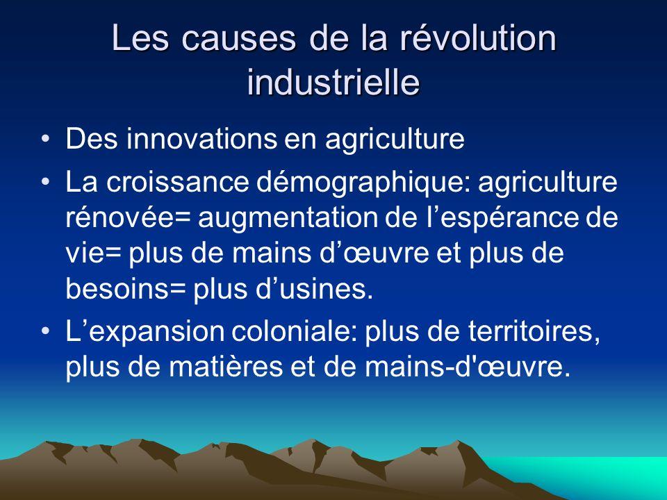 Les causes de la révolution industrielle Des innovations en agriculture La croissance démographique: agriculture rénovée= augmentation de lespérance de vie= plus de mains dœuvre et plus de besoins= plus dusines.
