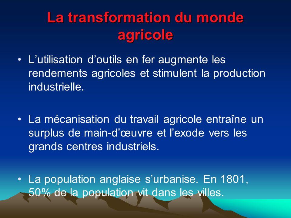 La transformation du monde agricole Lutilisation doutils en fer augmente les rendements agricoles et stimulent la production industrielle.