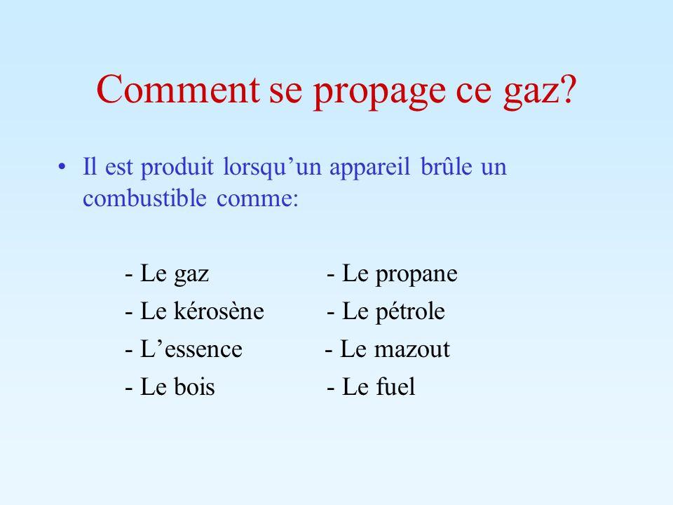 Comment se propage ce gaz? Il est produit lorsquun appareil brûle un combustible comme: - Le gaz- Le propane - Le kérosène- Le pétrole - Lessence - Le