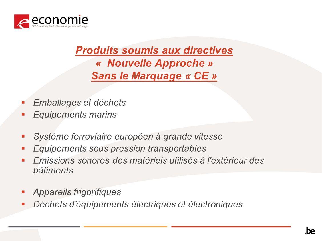 Produits soumis aux directives « Nouvelle Approche » Sans le Marquage « CE » Emballages et déchets Equipements marins Système ferroviaire européen à g