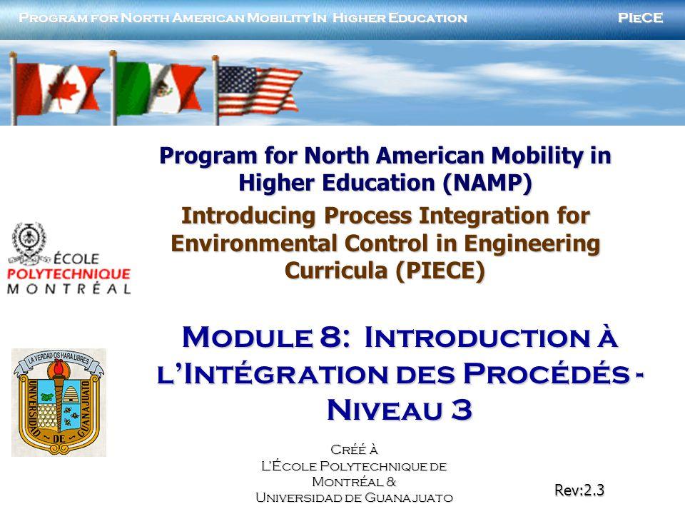 PIECENAMP Module 8: Introduction à lintégration des procédés 2 Résumé du projet Objectifs Créer des modules disponibles via internet pour aider les universités à présenter lintroduction de lintégration des procédés dans les programmes détudes en ingénierie.