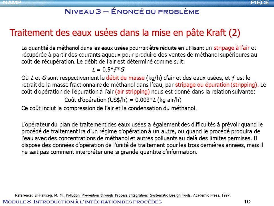 PIECENAMP Module 8: Introduction à lintégration des procédés 10 Niveau 3 – Énoncé du problème Traitement des eaux usées dans la mise en pâte Kraft (2)