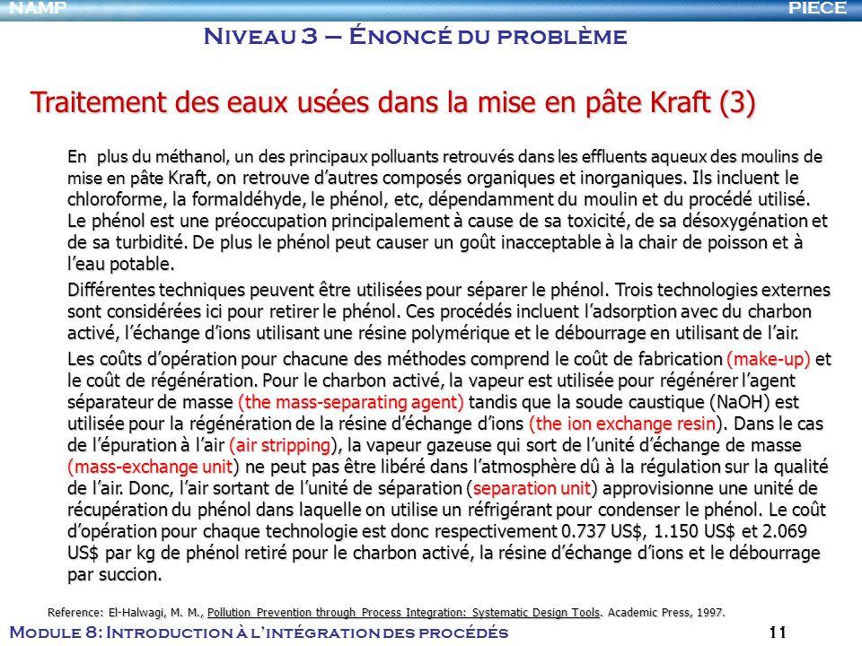 PIECENAMP Module 8: Introduction à lintégration des procédés 11 Niveau 3 – Énoncé du problème Traitement des eaux usées dans la mise en pâte Kraft (3)
