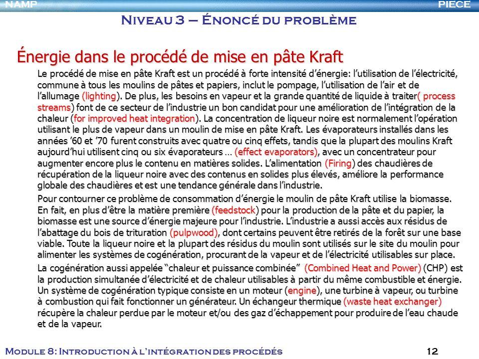 PIECENAMP Module 8: Introduction à lintégration des procédés 12 Niveau 3 – Énoncé du problème Énergie dans le procédé de mise en pâte Kraft Le procédé