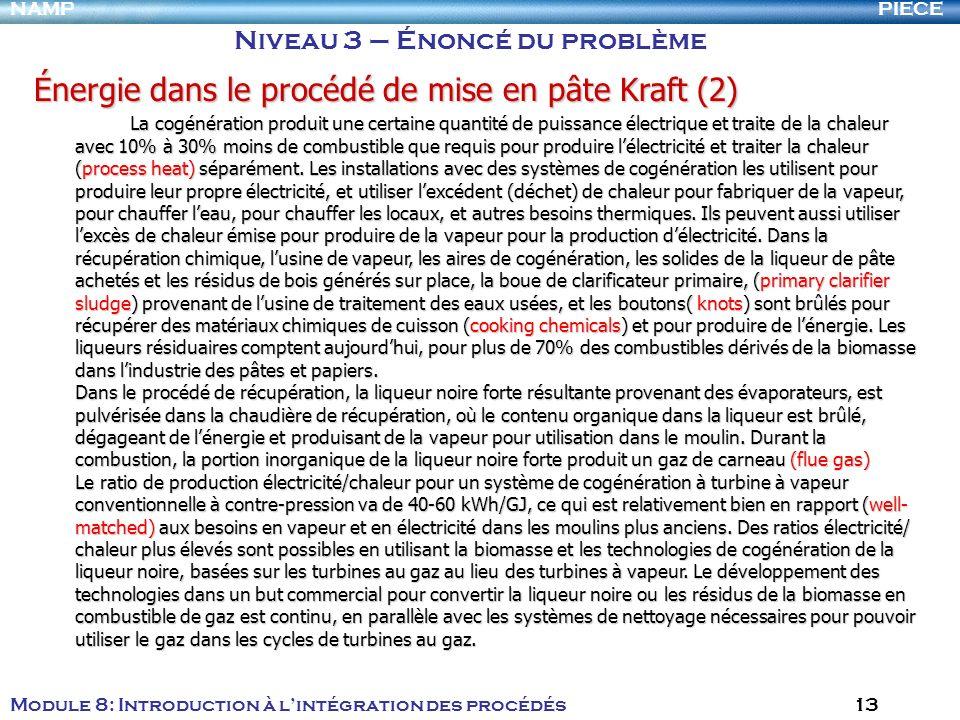 PIECENAMP Module 8: Introduction à lintégration des procédés 13 Niveau 3 – Énoncé du problème Énergie dans le procédé de mise en pâte Kraft (2) La cog