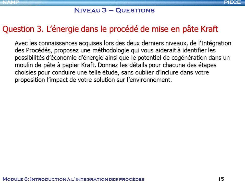 PIECENAMP Module 8: Introduction à lintégration des procédés 15 Niveau 3 – Questions Question 3. Lénergie dans le procédé de mise en pâte Kraft Avec l