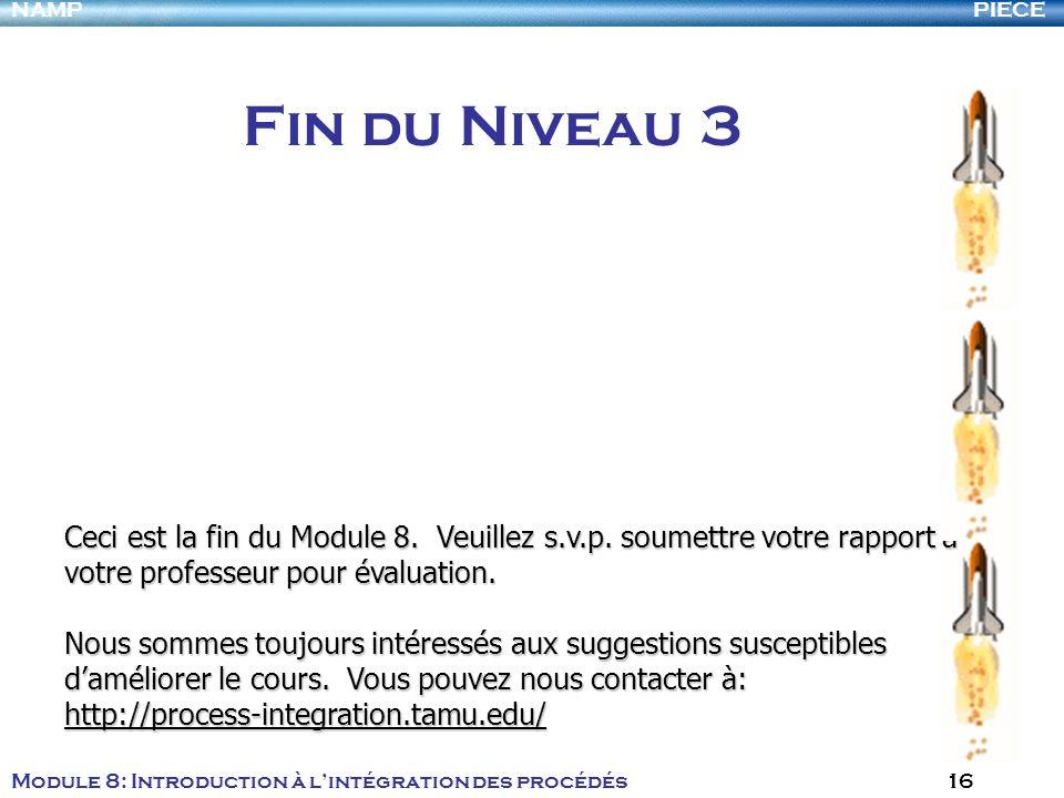 PIECENAMP Module 8: Introduction à lintégration des procédés 16 Fin du Niveau 3 Ceci est la fin du Module 8. Veuillez s.v.p. soumettre votre rapport à