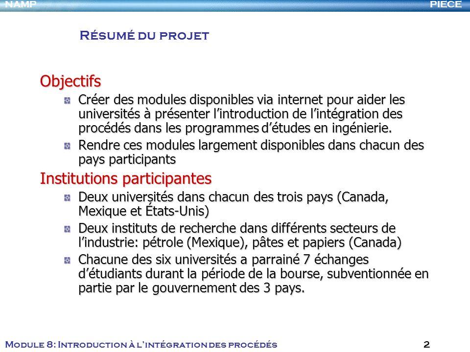 PIECENAMP Module 8: Introduction à lintégration des procédés 2 Résumé du projet Objectifs Créer des modules disponibles via internet pour aider les un