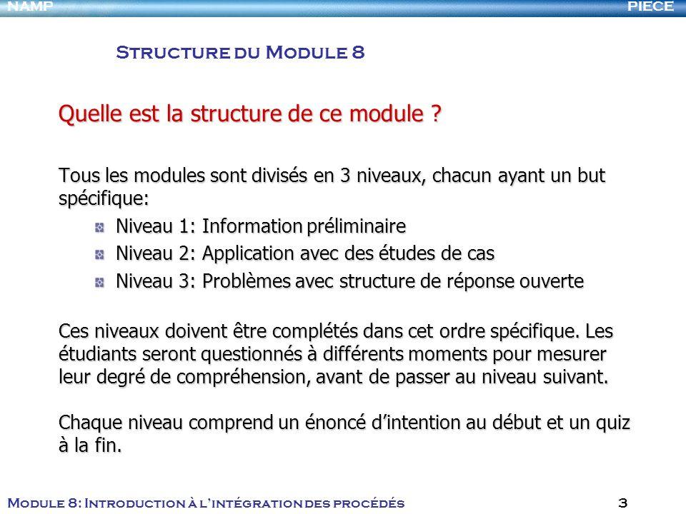 PIECENAMP Module 8: Introduction à lintégration des procédés 3 Quelle est la structure de ce module .