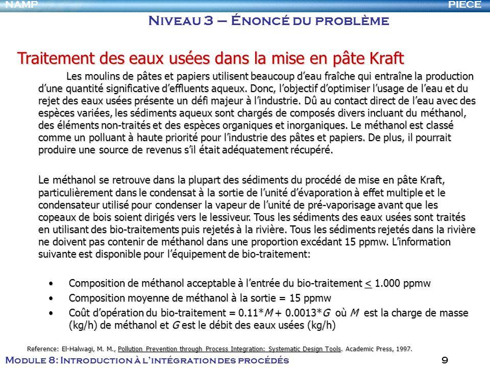 PIECENAMP Module 8: Introduction à lintégration des procédés 9 Traitement des eaux usées dans la mise en pâte Kraft Les moulins de pâtes et papiers ut