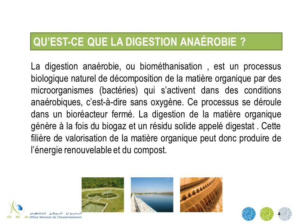 La digestion anaérobie, ou biométhanisation, est un processus biologique naturel de décomposition de la matière organique par des microorganismes (bac