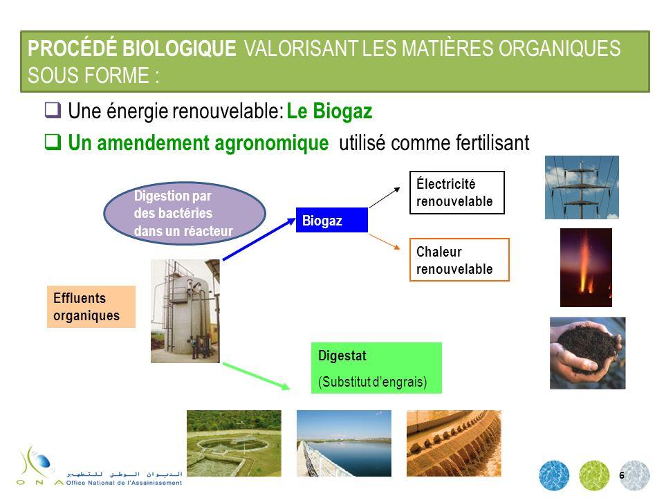 6 Une énergie renouvelable: Le Biogaz Un amendement agronomique utilisé comme fertilisant Effluents organiques Biogaz Digestat (Substitut dengrais) Él