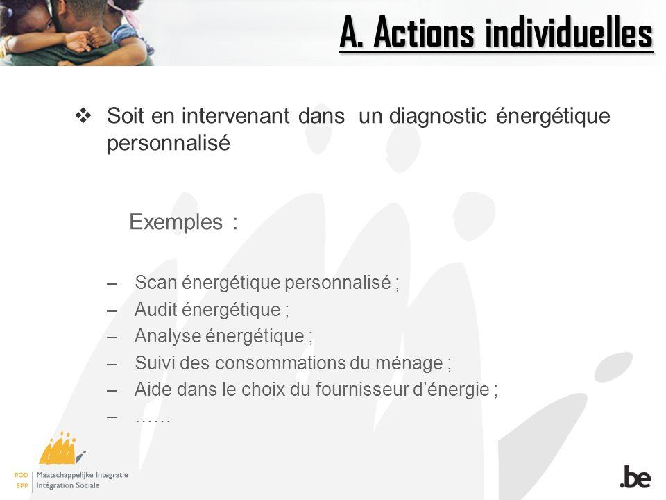A. Actions individuelles Soit en intervenant dans un diagnostic énergétique personnalisé Exemples : –Scan énergétique personnalisé ; –Audit énergétiqu