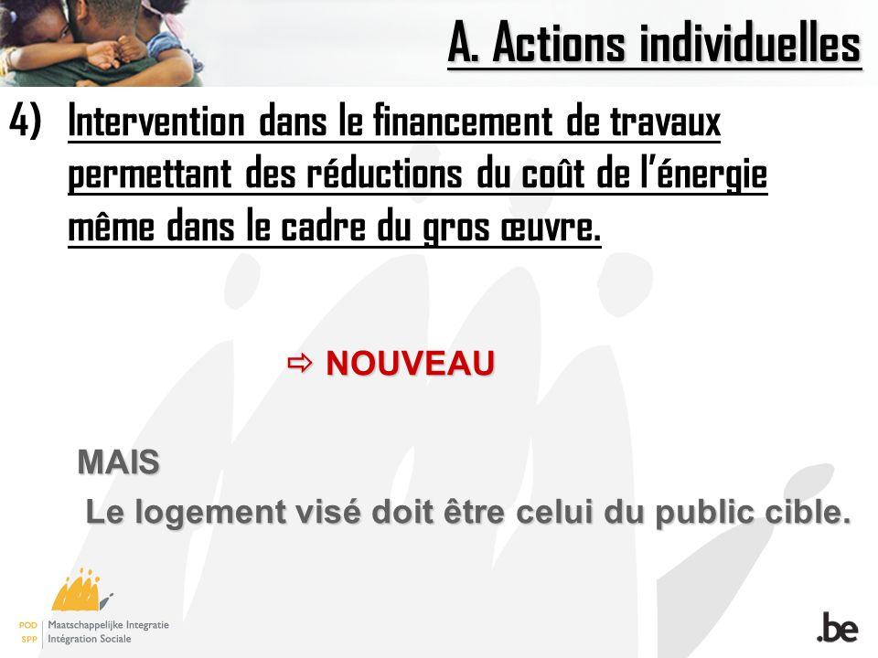 A. Actions individuelles 4)Intervention dans le financement de travaux permettant des réductions du coût de lénergie même dans le cadre du gros œuvre.