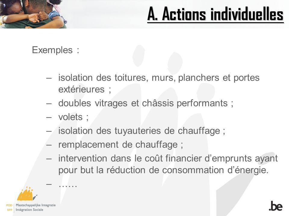 A. Actions individuelles Exemples : –isolation des toitures, murs, planchers et portes extérieures ; –doubles vitrages et châssis performants ; –volet