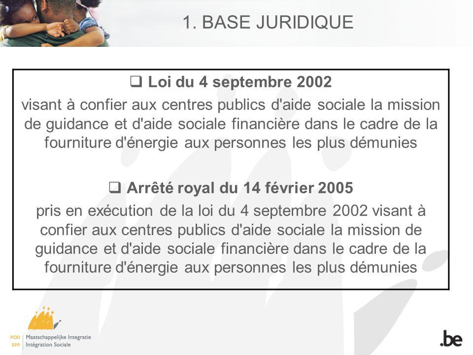 1. BASE JURIDIQUE Loi du 4 septembre 2002 visant à confier aux centres publics d'aide sociale la mission de guidance et d'aide sociale financière dans