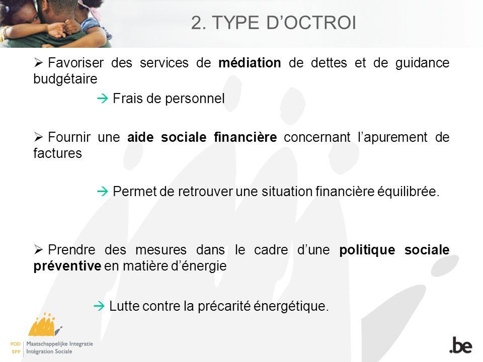 2. TYPE DOCTROI Favoriser des services de médiation de dettes et de guidance budgétaire Frais de personnel Fournir une aide sociale financière concern