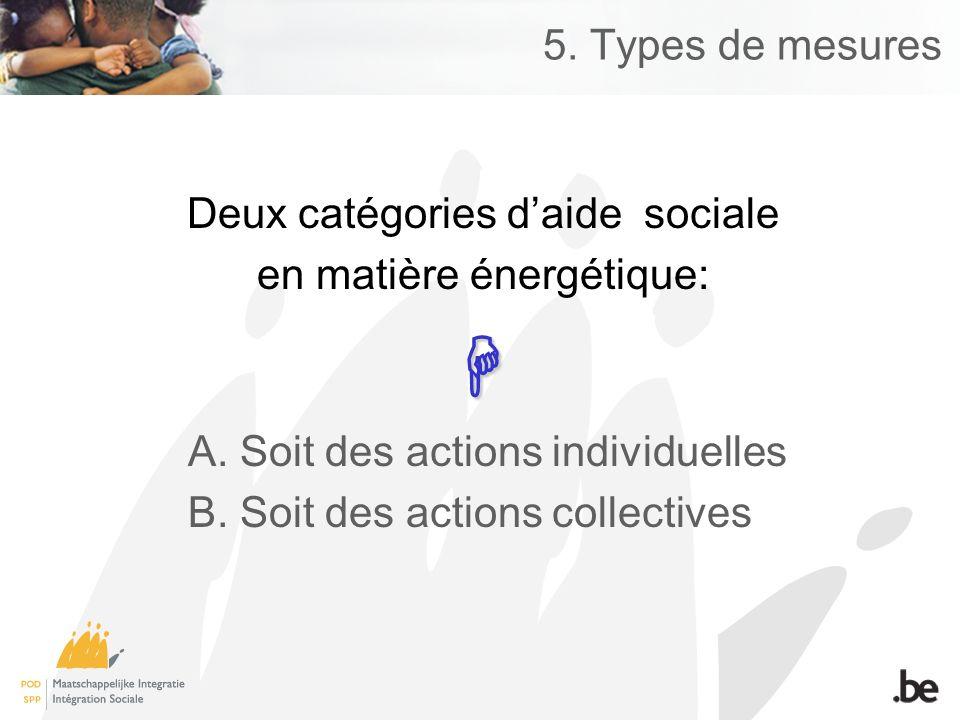 5. Types de mesures Deux catégories daide sociale en matière énergétique: A.