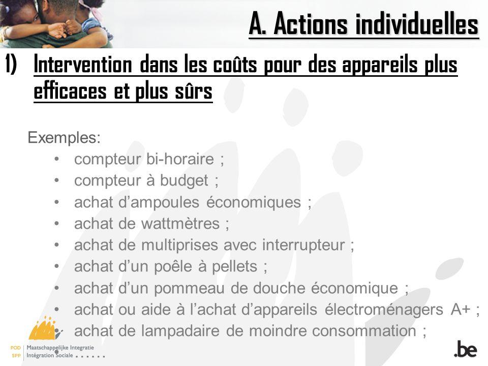A. Actions individuelles 1)Intervention dans les coûts pour des appareils plus efficaces et plus sûrs Exemples: compteur bi-horaire ; compteur à budge