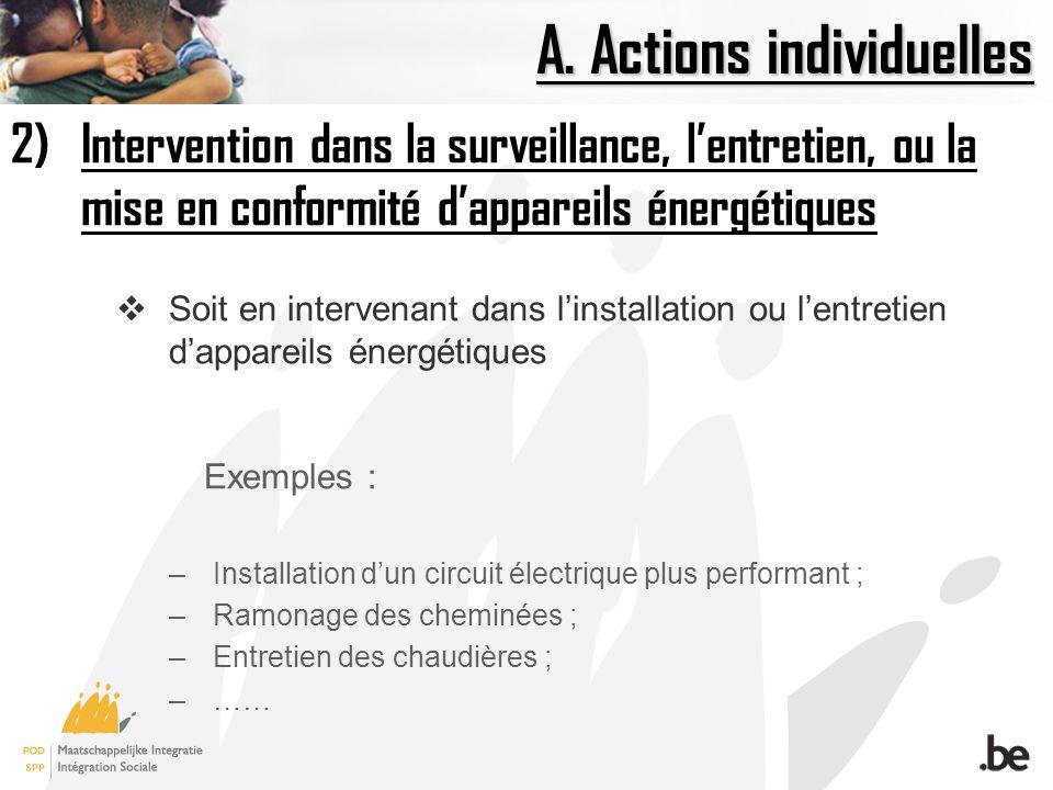 A. Actions individuelles 2)Intervention dans la surveillance, lentretien, ou la mise en conformité dappareils énergétiques Soit en intervenant dans li