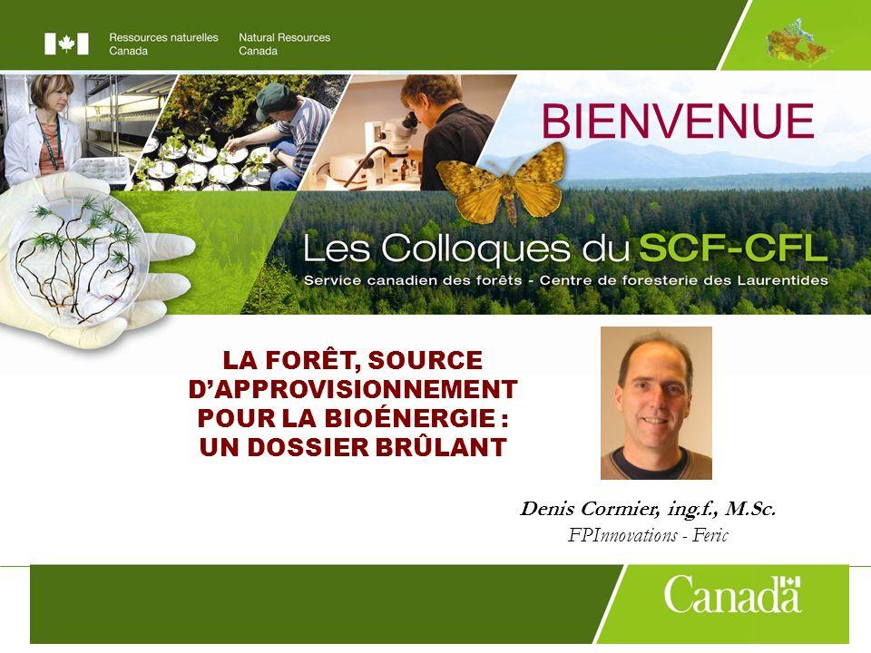 LA FORÊT, SOURCE DAPPROVISIONNEMENT POUR LA BIOÉNERGIE : UN DOSSIER BRÛLANT BIENVENUE Denis Cormier, ing.f., M.Sc.