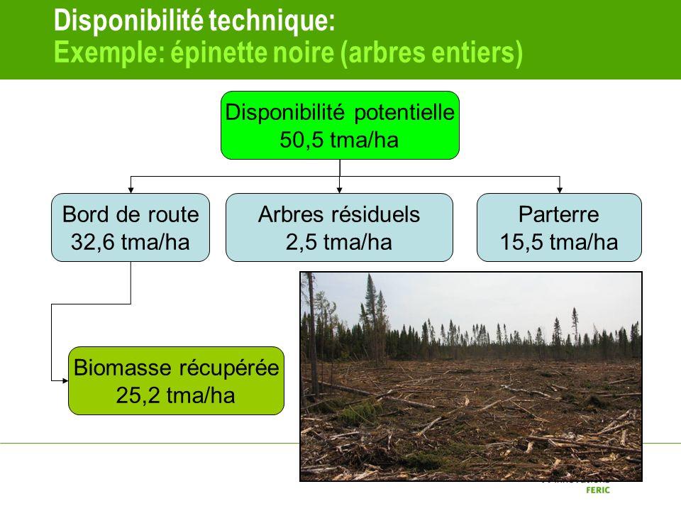 Disponibilité technique: Exemple: épinette noire (arbres entiers) Disponibilité potentielle 50,5 tma/ha Bord de route 32,6 tma/ha Arbres résiduels 2,5 tma/ha Parterre 15,5 tma/ha Biomasse récupérée 25,2 tma/ha